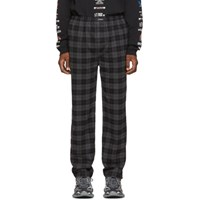 Balenciaga Grey And Black Check Flannel Trousers
