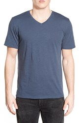 Men's The Rail Slub Cotton V Neck T Shirt Blue Insignia