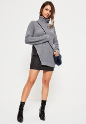 Missguided Grey Side Split Turtle Neck Detail Sweater