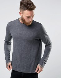 Asos Crew Neck Sweater In Relaxed Fit Gray
