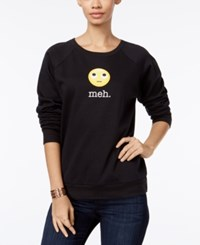 Freeze 24 7 Juniors' Meh Emoji Graphic Sweatshirt True Black