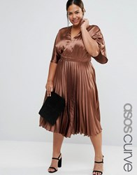 Asos Curve Satin Pleated Kaftan Midi Dress Brown