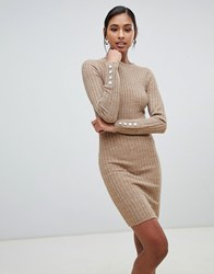 Brave Soul Ribbed Dress With Cuff Button Detail Brown