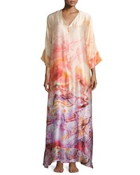 Christine Sunset Printed Zip Front Caftan Women's