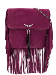 Zadig And Voltaire Rockson Fringes Crossbody Bag Purple
