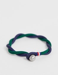 Tommy Hilfiger Woven Bracelet In Navy And Green