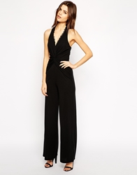 Lipsy Halterneck Jumpsuit With Lace Trim Black