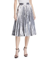 Calvin Klein High Waist Pleated Flare Knee Length Skirt Silver