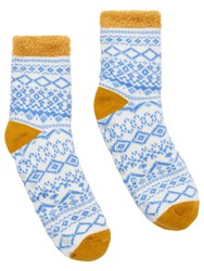 Joules Textured Three Tone Cabin Ankle Socks Yellow Ochre Multi