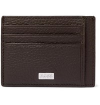 Hugo Boss Crosstown Full Grain Leather Cardholder Brown