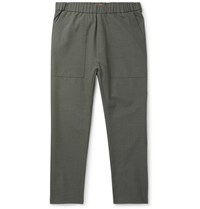Barena Grey Green Tapered Cropped Woven Trousers Green