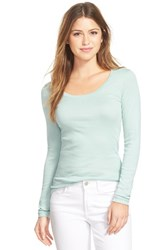 Petite Women's Caslon 'Melody' Long Sleeve Scoop Neck Tee Blue Raindrop