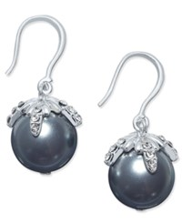 Charter Club Imitation Pearl And Crystal Drop Earrings Silver