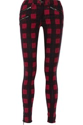 Rag And Bone Plaid Cotton Blend Low Rise Skinny Jeans Red