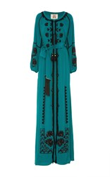 Figue Emerald Tula Beaded Gown Green