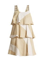 Ace And Jig Simone Tiered Cotton Blend Dress Beige Multi