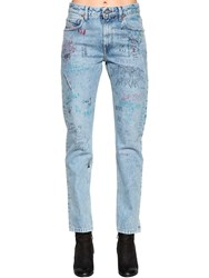 Diesel Graffiti Cotton Denim Jeans Light Blue