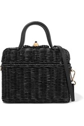 Ulla Johnson Perle Leather Trimmed Wicker Shoulder Bag Black