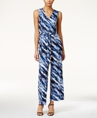 Ny Collection Petite Printed Wide Leg Jumpsuit Royal Wildflame
