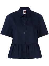I'm Isola Marras Ruffled Shortsleeved Shirt Blue
