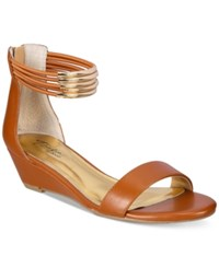 Thalia Sodi Leyna Wedge Sandals Only At Macy's Women's Shoes Cognac