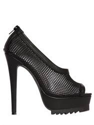 Nasty Gal 140Mm Bernese Mesh And Faux Leather Pumps