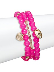 Saks Fifth Avenue Pave Heart Charm Beaded Bracelets Set Of 3 Pink Gold