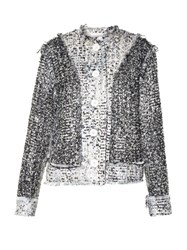 Christopher Kane Reversible Collarless Tweed Jacket Cream Multi