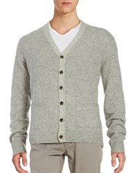 Black Brown V Neck Wool Blend Cardigan Dusty Grey