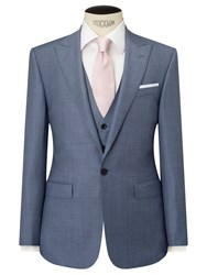 John Lewis Woven In Italy Sharkskin Half Canvas Tailored Suit Jacket Ice Blue