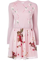 Red Valentino Floral Print Sweater Dress Pink And Purple