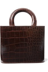 Staud Nic Croc Effect Leather Tote Brown