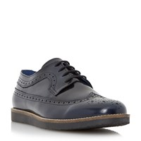 Dune Blackout Wedge Sole Longwing Brogue Shoes Navy
