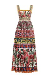 Dolce And Gabbana Pleated Maxi Dress Red Pink Yellow
