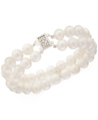 Macy's Cultured Freshwater Pearl 8Mm And White Topaz 1 2 Ct. T.W. Bracelet