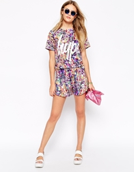 Hype Mini Shorts In Multicolour Festival Print With Front Logo Co Ord