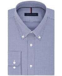 Tommy Hilfiger Men's Fitted Blue Check Dress Shirt Navy