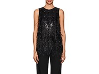 Koche Sequin And Feather Embellished Satin Back Top Black