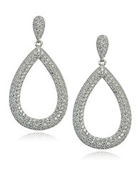 Lord And Taylor Sterling Silver Cubic Zirconia Teardrop Hoop Earrings