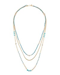 Lydell Nyc Worn Golden Triple Strand Beaded Necklace Blue