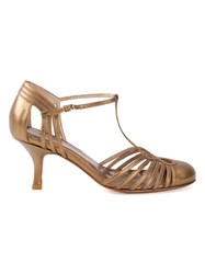 Sarah Chofakian Strappy Pumps Women Goat Skin 39 Metallic