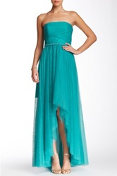 Monique Lhuillier Strapless Hi Lo Dress Green