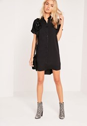 Missguided Short Sleeve Pocket Shirt Dress Black Black