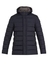 Herno Detachable Hood Quilted Down Coat Blue
