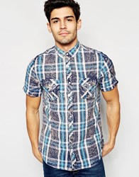 Brave Soul Summer Check Short Sleeve Shirt Blue