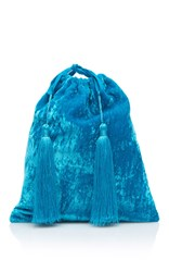 Attico Sofia Velvet Pouch With Tassels Turquoise