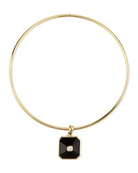 18K Gold Pyramid Onyx And Diamond Pendant Collar Necklace Maria Canale For Forevermark Black