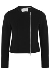 Harris Wharf London Ribbed Stretch Cotton Blend Jacket Black