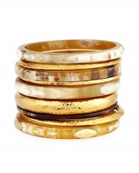Ashley Pittman Light Horn And Bronze Stacking Bangles Set Of 9