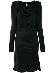 Jean Paul Gaultier Vintage Draped Midi Dress Black